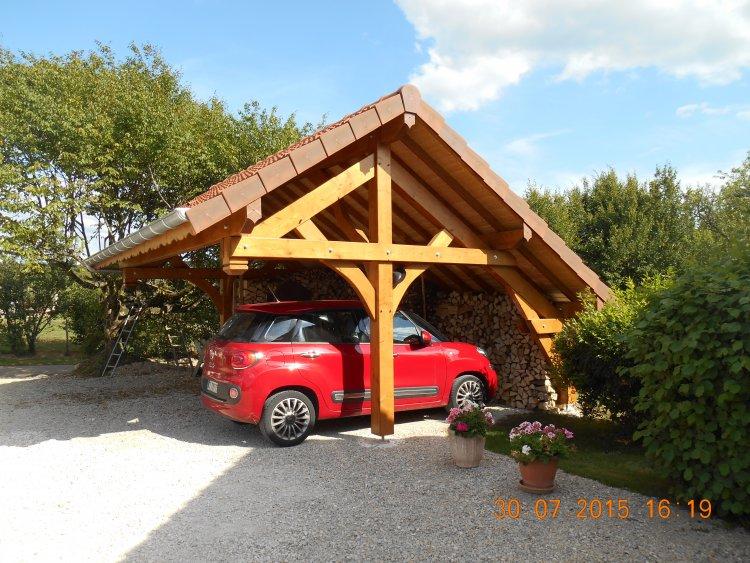 Abri voiture en bois toit 2 pans
